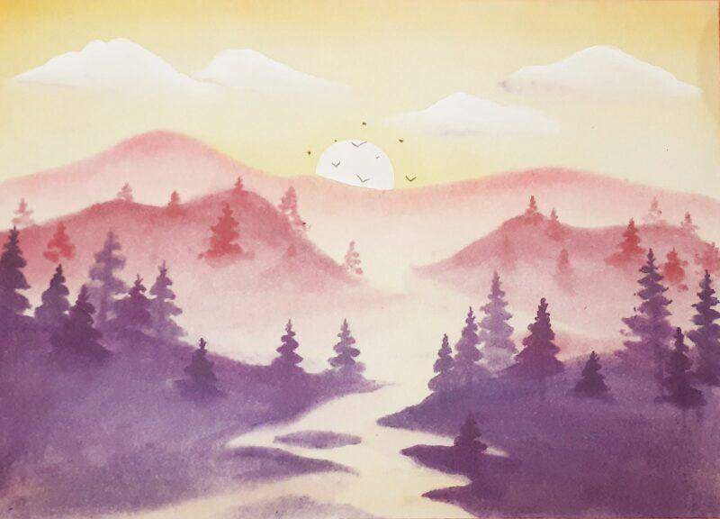 Как нарисовать рассвет в горах